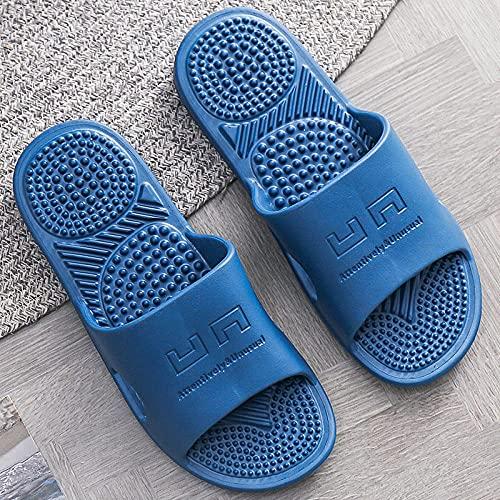 WUHUI Zapatillas de Ducha para Mujeres, Zapatillas de Baño Zapatillas de Toalla, Zapatillas de Masaje de Fondo Suave para baño para Mujer, Azul_40-41