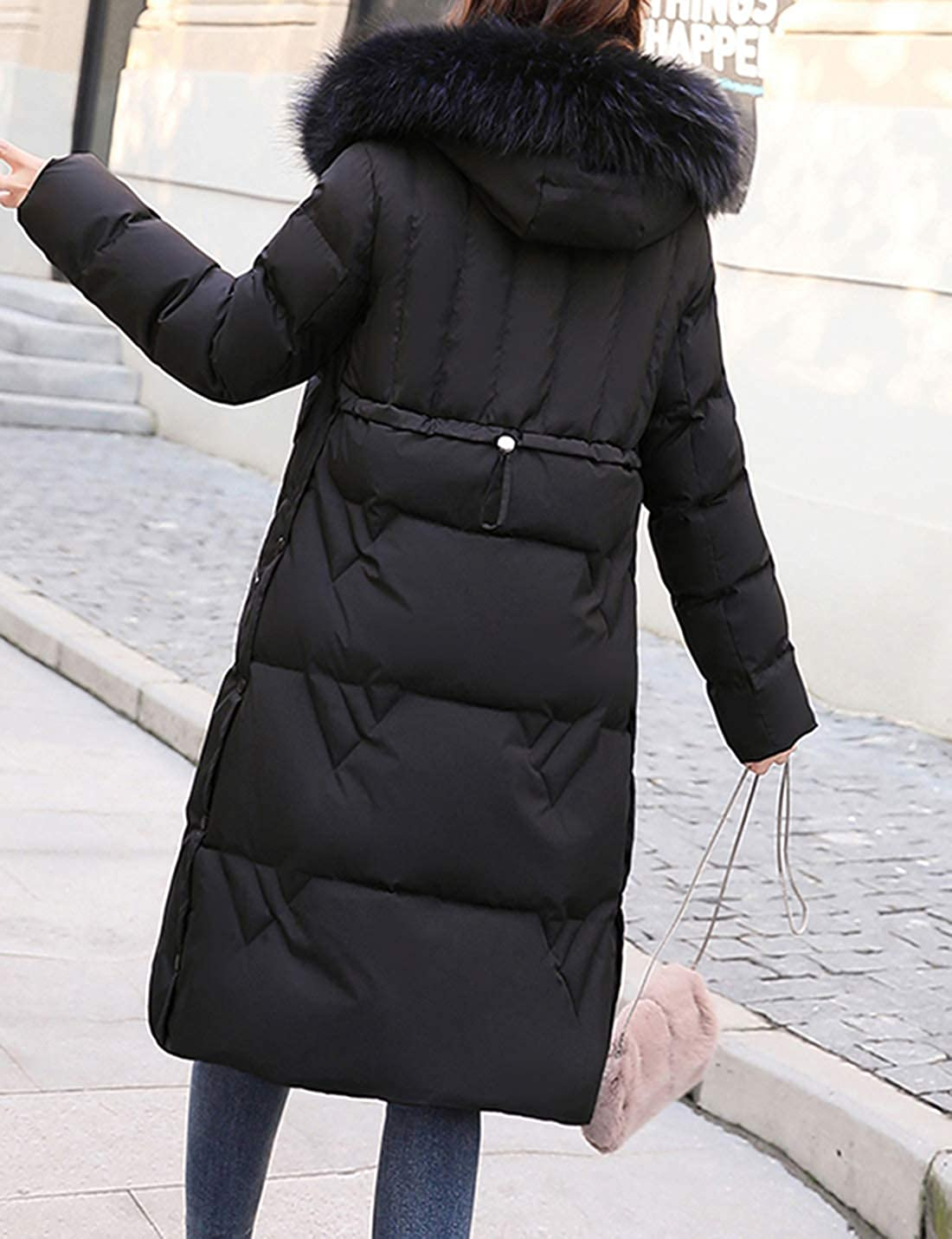 Uaneo Womens Mid Long Thicken Quilted Fur Collar Puffy Hoody Parkas Coat Outerwear(Black-M)