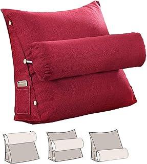 L/S Cojín de respaldo para sofá, cojín cervical, cojín de lectura, sofá triangular, cojín de apoyo para la espalda, cojín cervical, cojín para el cuello, color rojo