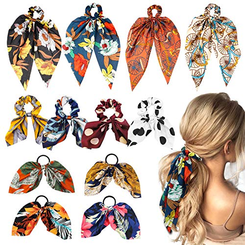 WATINC 12Pcs Chiffon Bowknot Hair Scrunchy Vintage Floral Scarf Hair Ties Ponytail Holder with Polka Dot Hair Accessories Ropes for Women