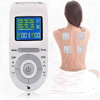 FOOSKOO Tens electroestimulador, 12 Modos Tens Electroestimulador con 4 Reutilizable Electrodo Almohadillas for Alivio Dolor Legumbres Masaje EMS Músculo Estímulo Electroestimulador Muscular