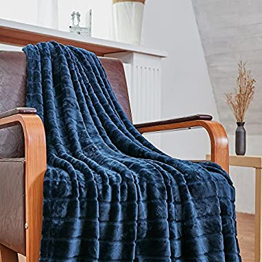 Bertte Ultra Velvet Plush Super Soft Decorative Stripe Throw Blanket-50 x 60 , Navy