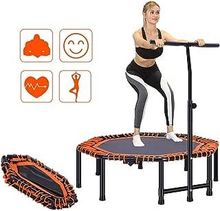 Portable Pliable Fitness Workout Mini Trampoline Trampoline 48 Pouces Max 330lbs de Charge avec for la séance d'entraînement réglable Main Courante Jardin intérieur Cardio Exercice