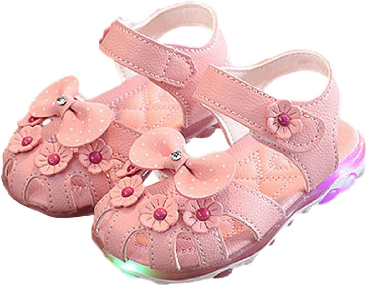 Baby Girls Led Light Sandals Children Summer Led Luminous Sneakers Colorful Sports Shoes Kids Casual Flowers Trainers Toddler Colored Princess Shoes Casual Small Walking Shoes 12 Months-3 Years Old