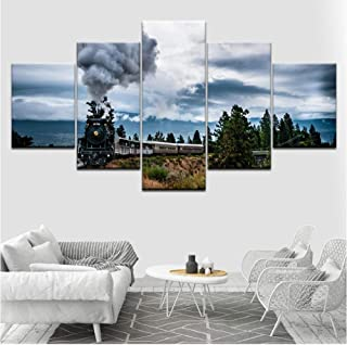 faqddf Canvas Painting Funny Train Steam Wall Art Pictures 5 Pieces Modular Wallpapers Poster Framework Print for Living Room Decor -40x60cmx2 40x80cmx2 40x100cmx1