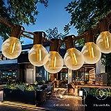 LED Guirlande Guinguette Extérieur, Tomshine G40 25 ampoules avec 3 ampoules rechange,12 Mètres/ 39.37FT, étanche IP45, E12 Base, Raccordable au maximum 15 Brins (Blanc Chaud) [Classe énergétique A+ ]