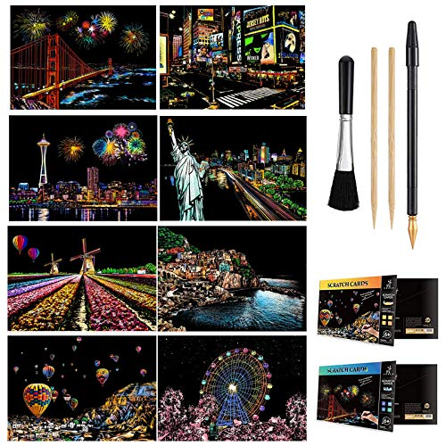 Scratch & Sketch Art Paper A4 for Kids & Adults, Rainbow Painting Night View Art&Craft, Engraving Art Set: 8 Sheets...
