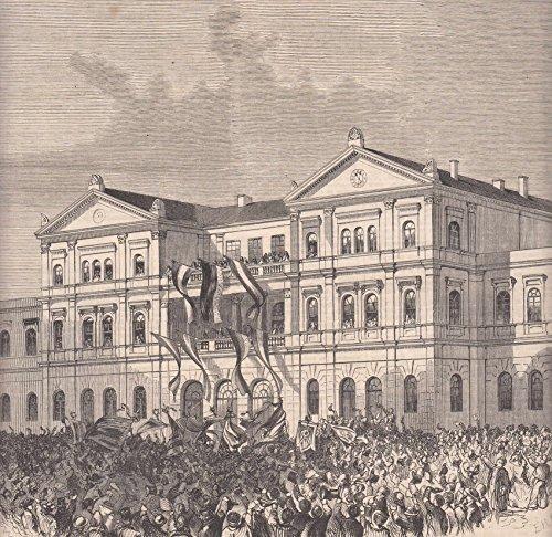 Hamburg-Altona - Die Proklamirung des Herzogs v. Schleswig-Holstein vom Balkon des Bahnhofs in Altona. [Grafik]