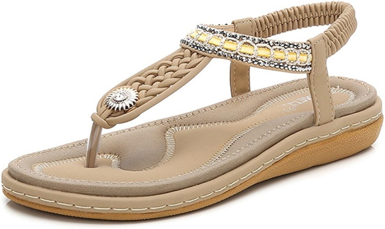 GIY Womens Bohemian T-Strap Flat Flip Flops Sandals Sparkly Rhinestone Comfort Elastic Summer Beach Thong