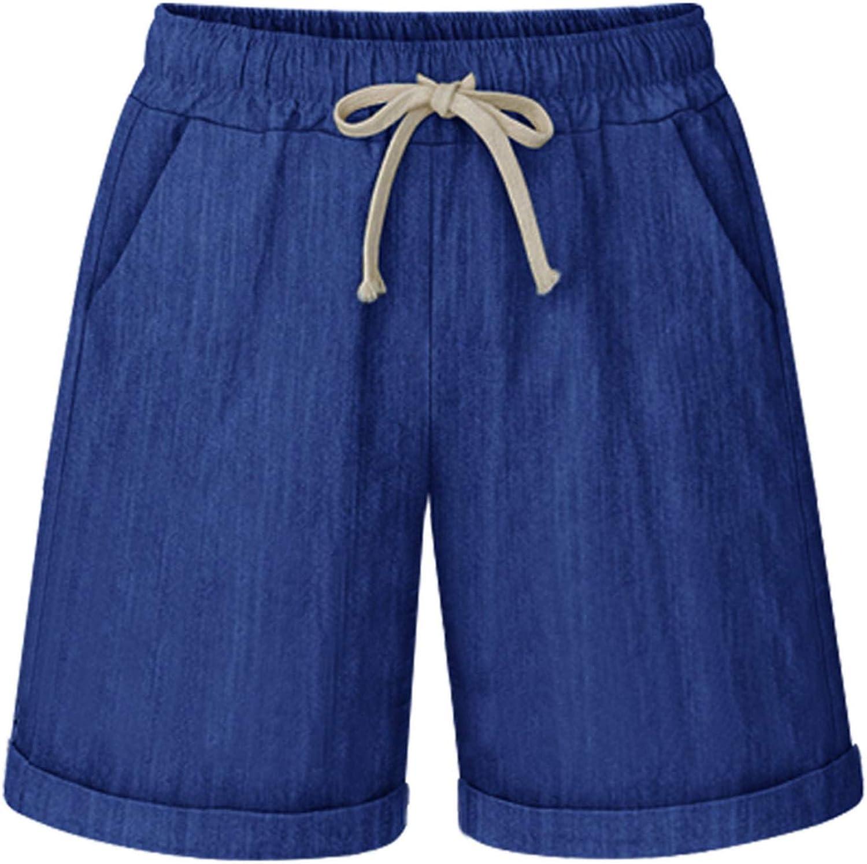 GSHENBS Bermuda Shorts for Women Casual Summer Elastic Waist Knee Length Cotton Shorts with Drawstring