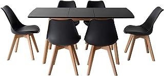 Happy Garden Ensemble Table Extensible 120/160cm Helga et 6 chaises Nora Noir