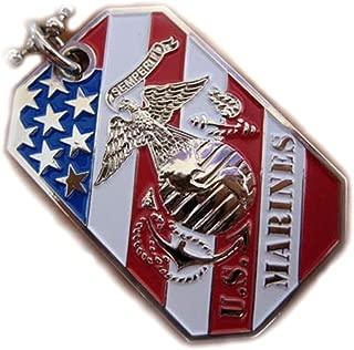VENICEBEE USMC Marine Corps EGA Crest Flag Pendant Dog TAG Ball Chain Necklace Semper FI