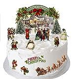 Traditionelle viktorianische Weihnachtsszene, hergestellt aus essbarem Oblatenpapier, ideal geeignet für die Dekoration von Weihnachtskuchen - einfach zu verwenden.