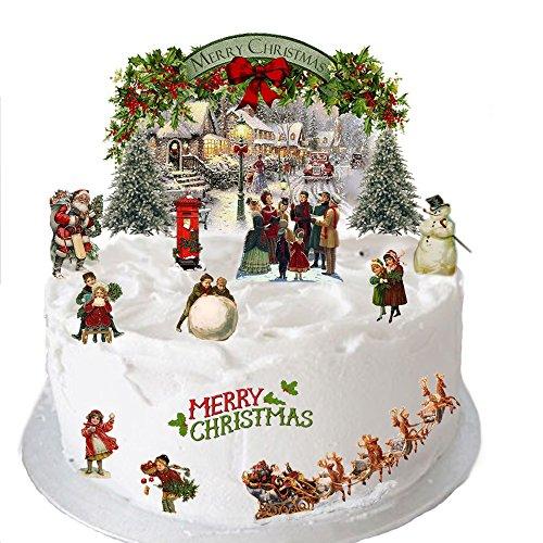 Tradizionale decorazione natalizia dallo stile vintage in carta di riso commestibile, perfetta per decorare dolci natalizi e facile da usare