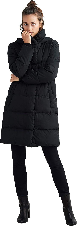 ellos Women's Plus Size Long Hooded Puffer Coat