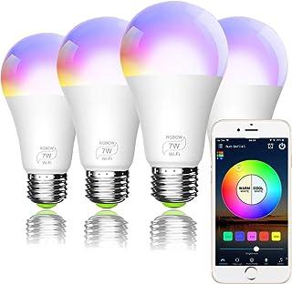 Smart WiFi Light Bulb, Bombilla LED Inteligente, A19 E27 RGBCW WiFi Dimmable LED Multicolor Lights, Compatible con Amazon ...