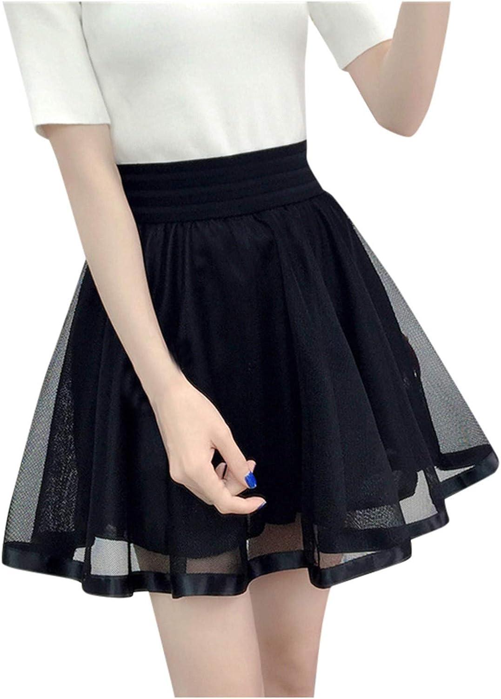 Naladoo Womens Girls Basic Black Net Yarn Stretchy A-line Flared Casual Mini Skater Skirt