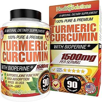 Turmeric Curcumin with Bioperine 1500mg  90 Capsules  Maximum Potency Pain Relief & Joint Support Supplement 95% Standardized Curcuminoids Non-GMO Tumeric Gluten Free Turmeric with Black Pepper