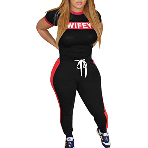 291be292c205 Just For Future Women Word Letter Print Tracksuits Set Short Sleeve Crop  Tops and Skinny Long