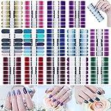 14 Feuilles 196Pcs Autocollants pour Nail Art, Autocollants à ongles couverture complète, Gel Nail Strip, Vernis À Ongles Adhésif Décorations De Manucure