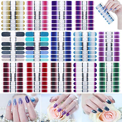 196Pcs Nail Polish Stickers Full Wraps Self-Adhesive Glitter Nail Art Decals Strips Manicure Art Designs for Women Girls