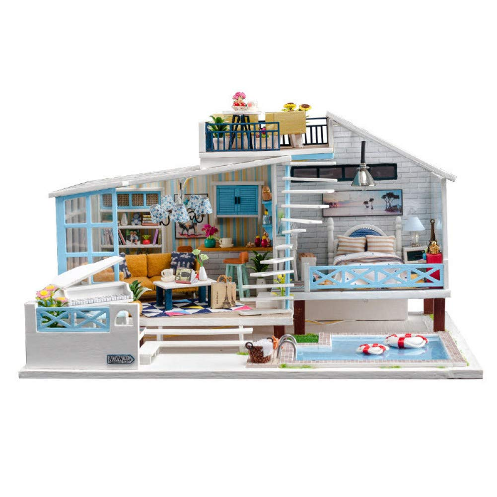 Gmdrnc Holiday Theme Doll House Swimming Pool Wooden Doll Houses Miniature Dollhouse Kast Furniture Buy Online In Lithuania At Lithuania Desertcart Com Productid 195505875