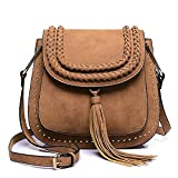 Saddle Bag Tassel Weave Shoulder Bag DORIA DORE Rivet Crossbody Bags for Women
