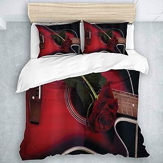 HATESAH Funda nórdica de 3 Piezas Tejido de Microfibra,Músico español Rojo y Negro Portugal Tema Hecho a Mano Guitarra con Tema romántico Love Rose Pattern,El Juego de Cama Tiene 2 Fundas de Almohada