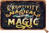 創造性は魔法ではありません魔法ではありません20X30CMヴィンテージルックアイアンデコレーションアートサインホームキッチンバスルームファームガーデンガレージインスピレーションを与える引用壁の装飾