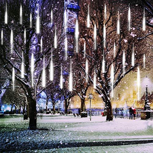 KINGCOO LED Météore Douche Solaire Lumineux Jardin, Etanche Goutte d'eau Chute Cascading 30cm 10 Tubes 360LEDs Décoratif Guirlandes Lumières pour Fête Vacances Noël Décorat(Blanc)