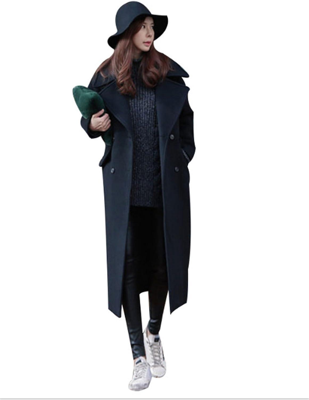 ZISHU Women's Casual Notched Lapel Button Closure Coat