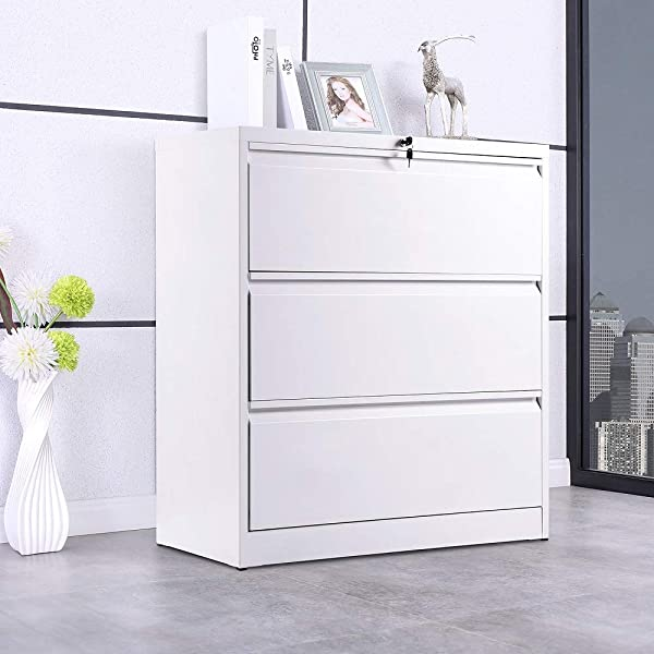 3 Drawers White Lateral File Cabinet With Lock Lockable Heavy Duty Filing Cabinet Steel Construction