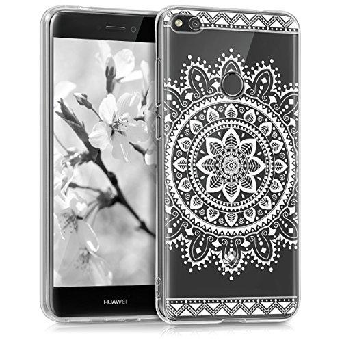 kwmobile Carcasa Compatible con Huawei P8 Lite (2017) - Funda Silicona TPU Flores Aztecas Blanco/Transparente