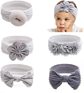 BFEERgirl 5Pcs Baby Girls Headbands Flower Soft Strecth Bows Turban Knotted Hair Band Newborns Infants Toddlers Headwraps