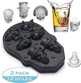 2PCS Calavera Bandeja de Cubitos de Hielo 3D Calavera Molde de Silicona Flexible Cubitos de Hielo/Chocolate/Moldes de Caramelo, Hace seis Calaveras Gigantes para Cócteles de Whisky y Vodka
