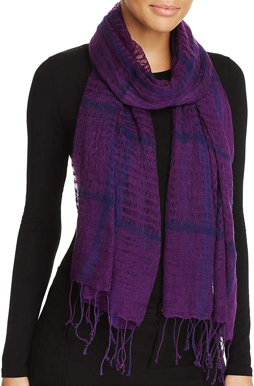 Eileen Fisher Womens Linen Blend Sheer Decorative Scarf Purple O S