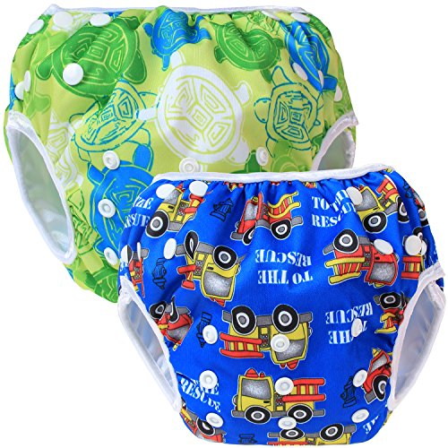 Teamoy 2-teilig Baby Schwimmhose, Bequem, waschbar und verstellbar, ideal für Schwimmen Lektionen oder Urlaub (Grüne Früchte+ Blaues Auto)