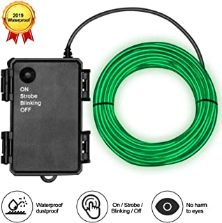 Basdien Waterproof El Wire 16.5ft Neon El Wire with Battery Operated 4 Modes for DIY Cosplay Dress Costumes Decoration Green