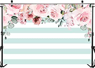 Mocsicka Birthday Backdrop Mint Green and White Stripes Decoration Background 7x5ft Watercolor Flower Photo Backdrops Bridal Shower Photo Props