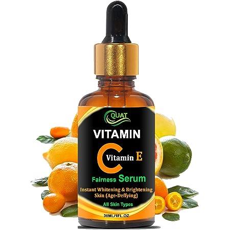 Quat Vitamin C Serum For Face From Recast, Pigmentation, Fairness-Anti-ageing-Anti-wrinkles-Acne-spots & Age-spots l Serum for Glowing Skin/Anti Dark Circle/Lighten Dark Spots/Repairing Damaged-30 ML