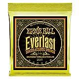 Ernie Ball Everlast Cuerdas de guitarra acústica de bronce 80/20 con recubrimiento ligero - Indicador 11-52
