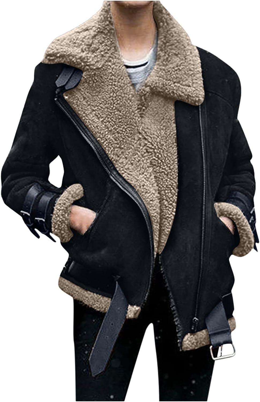 Women Fashion Short Coats Lapel Faux Fleece Fur Lined Jacket With Pockets Outwear Lightweight For Winter Fall