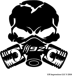 UR Impressions MBlk Claw Marks 392 Piston Gas Mask Skull Decal Vinyl Sticker Graphics for Cars Trucks SUV Vans Walls Windows Laptop|Matte Black|5.5 Inch|UR688-MB
