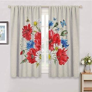 DIMICA Home Decor Sliding Door Curtains Flowers Vintage Watercolor Bouquet of Wildflowers..