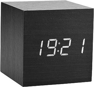 Reloj de alarma LED digital, reloj de madera para habitaciones Reloj de madera moderno 3 niveles Pantalla de temperatura de brillo con control de voz(Negro)