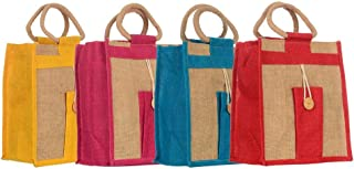 Sainik Jute Shopping Grocery Bag with Cotton Rope Handle for Men and Women Tote Bag and Lunch Bag with Zip (Pack of 4)