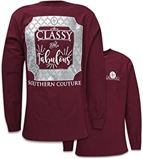 Southern Couture SC Classic Classy & Fabulous on Long Sleeve Womens Classic Fit T-Shirt - Maroon