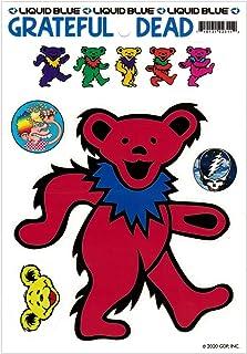 Liquid Blue Grateful Dead Red Dancing Bear - Bumper Sticker/Decal