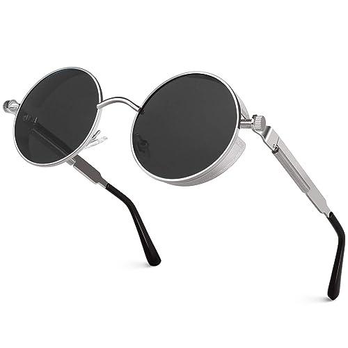 CGID E72 Retro Steampunk Style Unisex Inspired Round Metal Circle Polarized Sunglasses for Men and Women