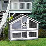 LZ LEISURE ZONE 50.2' Rabbit Hutch Pet Bunny Cage Wood Small Animals House for Outdoor/Indoor Use (Grey+White)